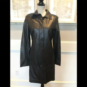 Express Jackets & Coats - Vintage Express Black Trench Leather Coat Sz. 5/6
